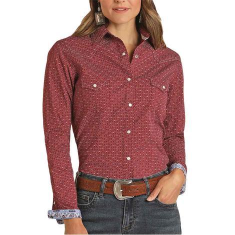 Panhandle Wine Print Long Sleeve Snap Women's Shirt