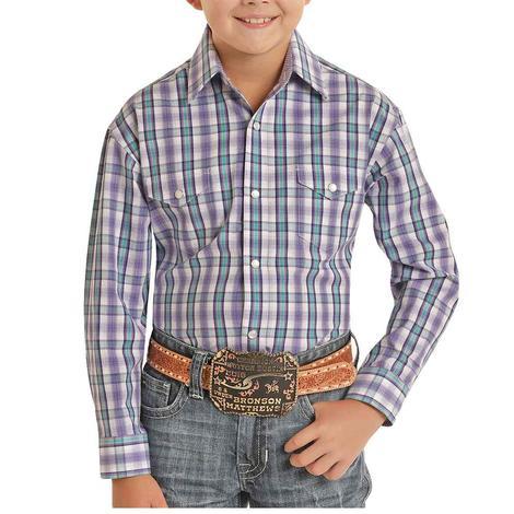 Panhandle Violet Plaid Long Sleeve Snap Boy's Shirt