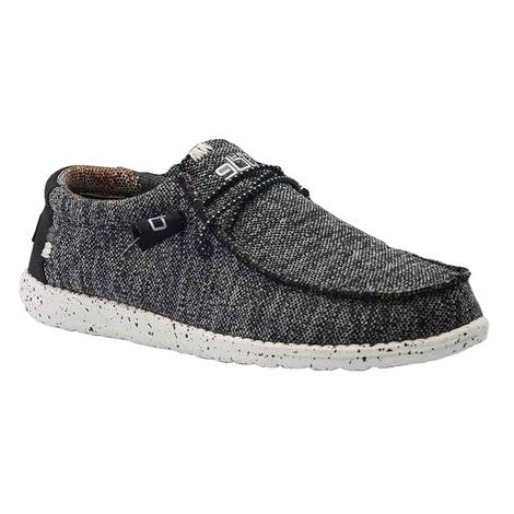 Hey Dude Wally Sox Mens Shoes in Black and White