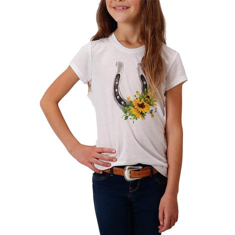 Roper White Sunflower Horseshoe Girl's Tee