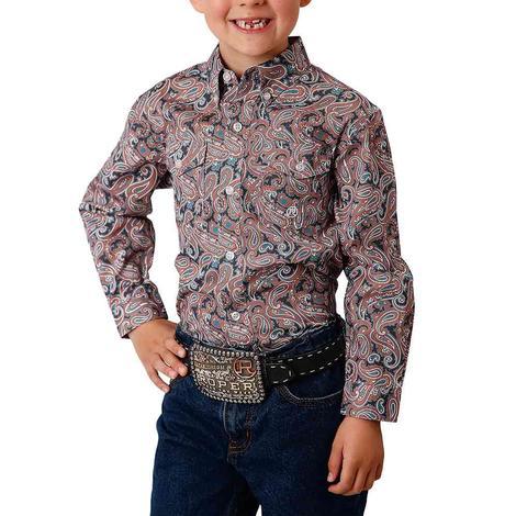Roper Orange Paisley Long Sleeve Buttondown Boy's Shirt