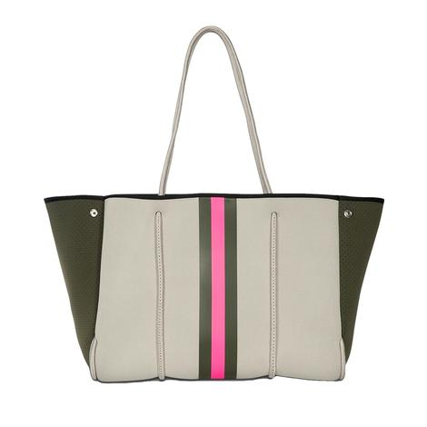 Haute Shore Greyson Swank Cream Olive Pink Tote