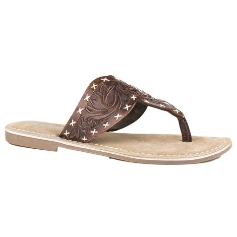 Roper Juliet Dark Brown Tooled Leather Thong Sandal
