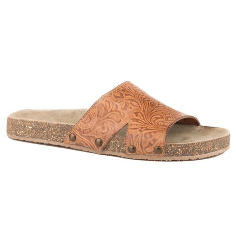 Roper Destiny Tan Tooled Leather Slide Sandal