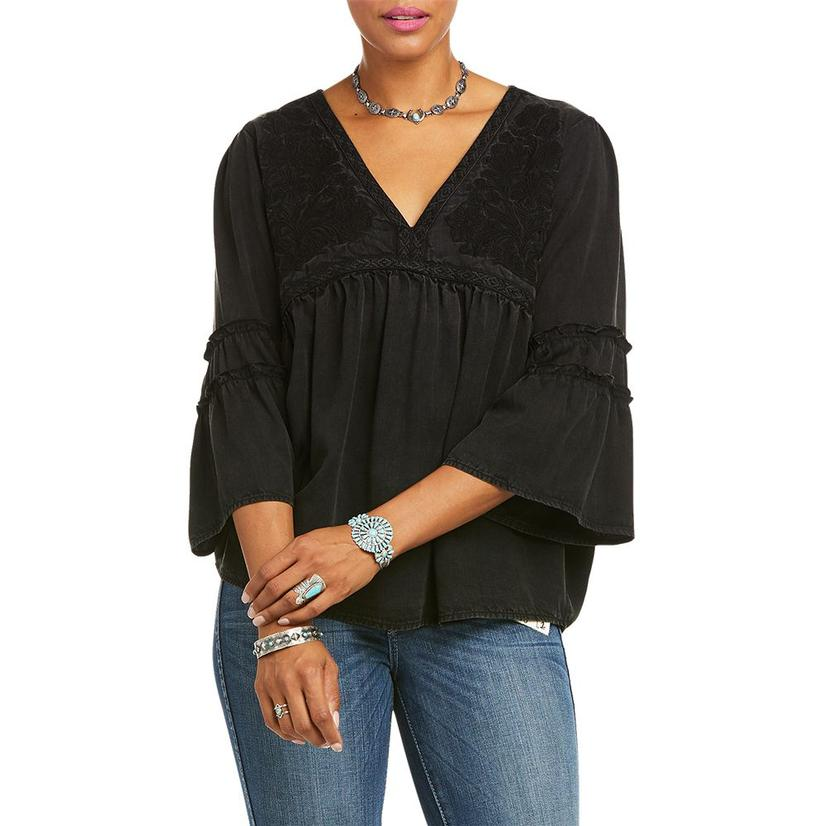 Ariat Faded Black Embroidered Weekend Women's Tunic