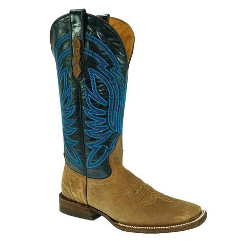 STT Navy Top Brown Antique Saddle Bullhide Women's Boots