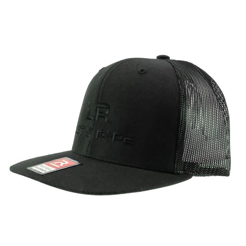 Let's Rope Black Flat Bill Logo Meshback Cap