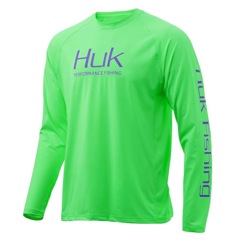 Huk Men's Vented Long Sleeve Electric Green Shirt