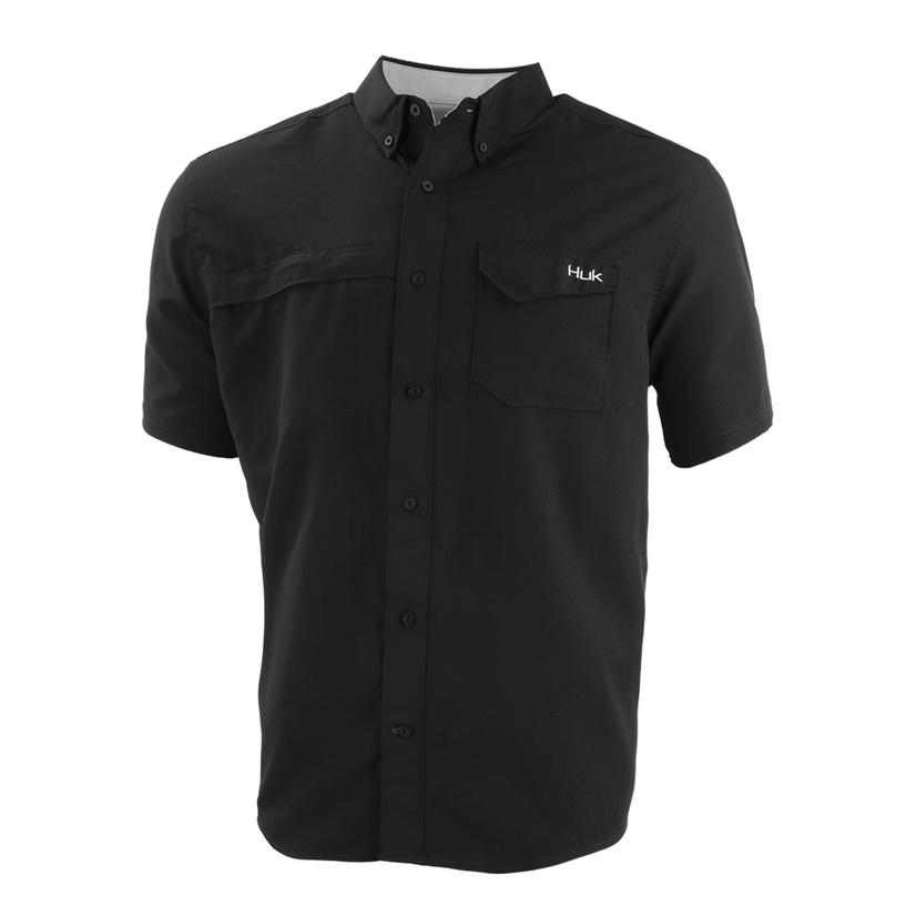 Huk Tide Point Black Solid Short Sleeve Men's Shirt