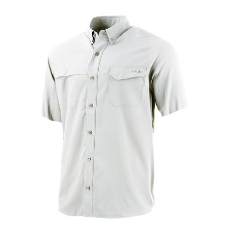HUK Tidepoint Solid White Short Sleeve Men's Shirt