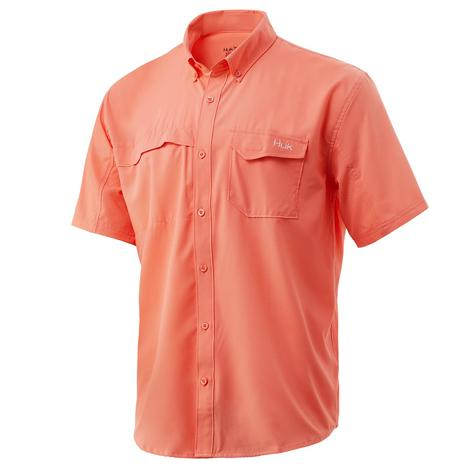 HUK Tidepoint Sold Fushion Coral Short Sleeve Men's Shirt