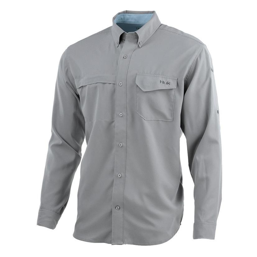 Huk Tidepoint Grey Long Sleeve Men's Shirt