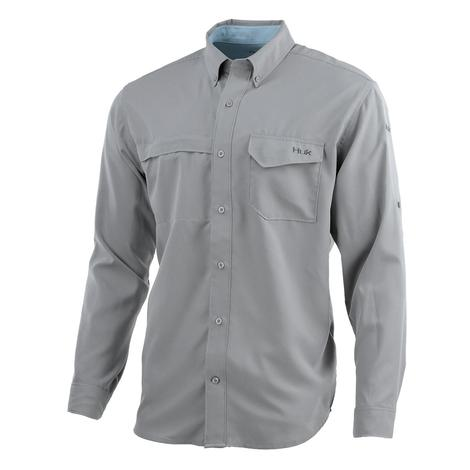 HUK Tidepoint Grey Long Sleeve Men's Shirt