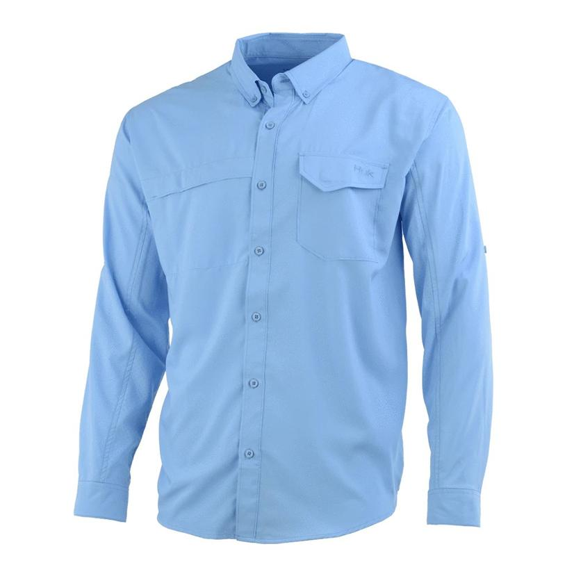 Huk Tidepoint Carolina Blue Long Sleeve Men's Shirt