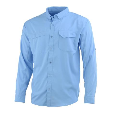 HUK Tidepoint Carolina Blue Long Sleeve Men's Shirt