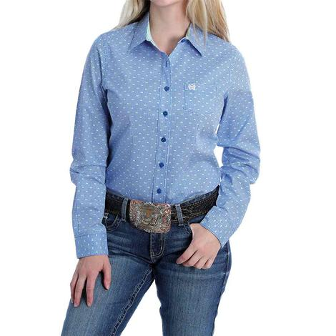 Cinch Blue Print Long Sleeve Buttondown Women's Shirt