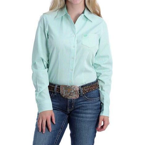 Cinch Light Green Striped Long Sleeve Buttondown Women's Shirt