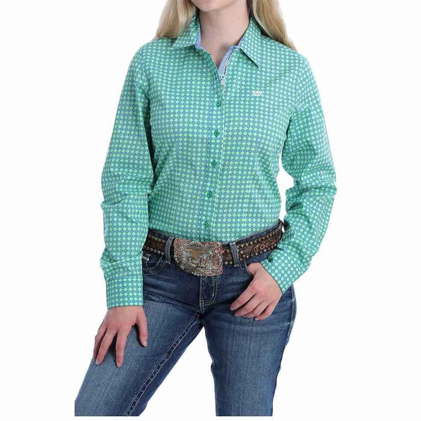 Cinch Green Print Long Sleeve Buttondown Women's Shirt
