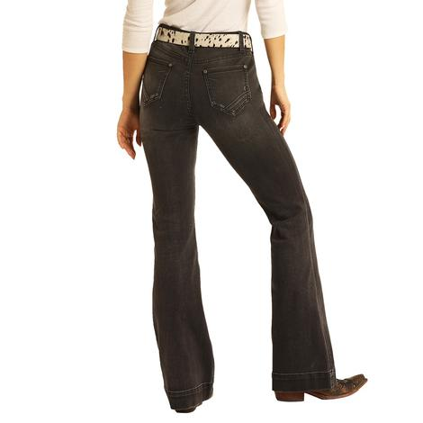 Rock and Roll Cowgirl Dark Grey High Rise Trouser Jeans