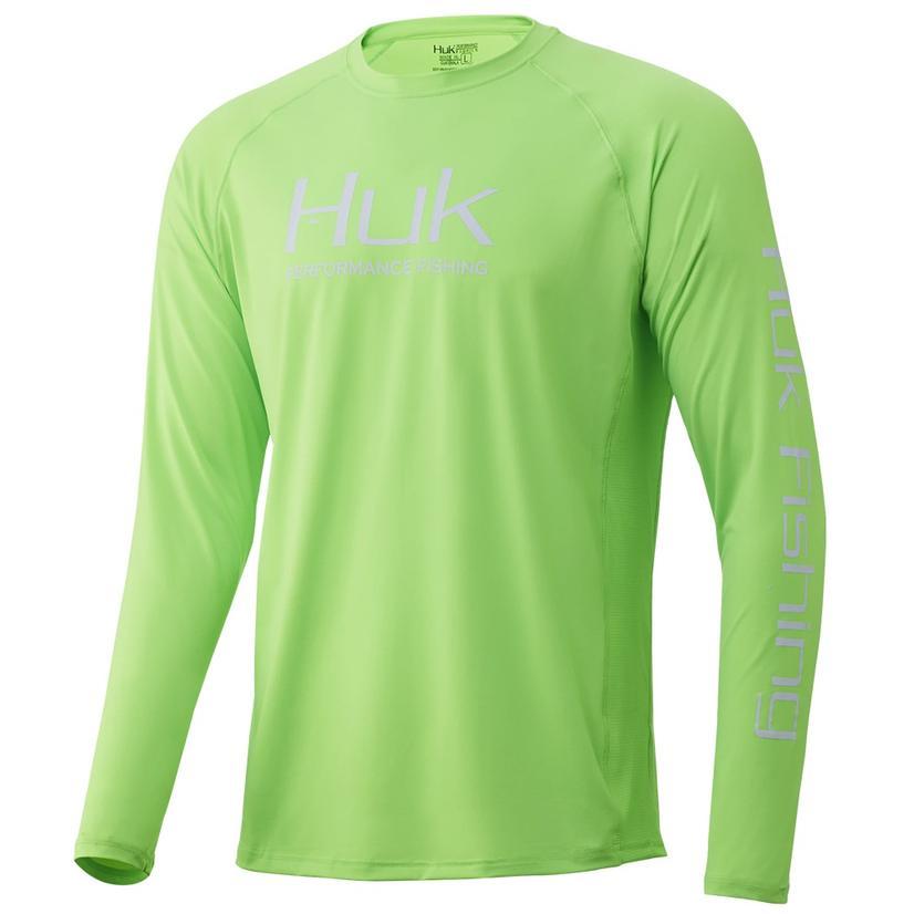 Huk Pursuit Vented Long Sleeve Neon Green Men's Shirt
