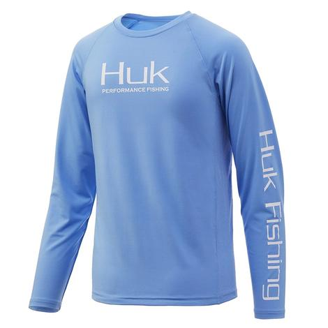 HUK Youth Pursuit Vented Long Sleeve Carolina Blue