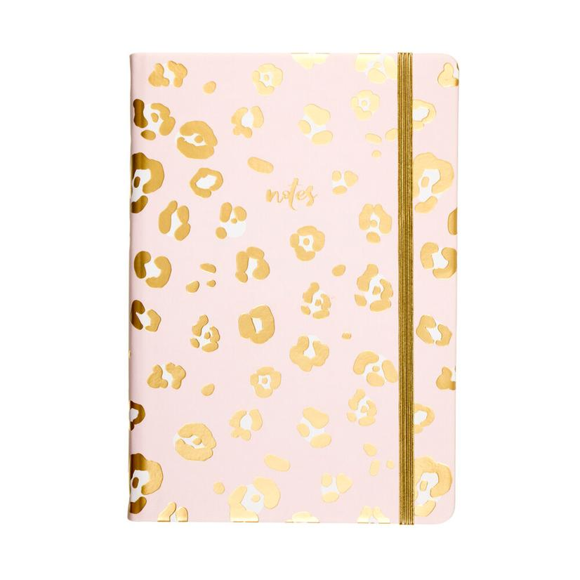 Leopard Gold Metalic Journal With Elastic
