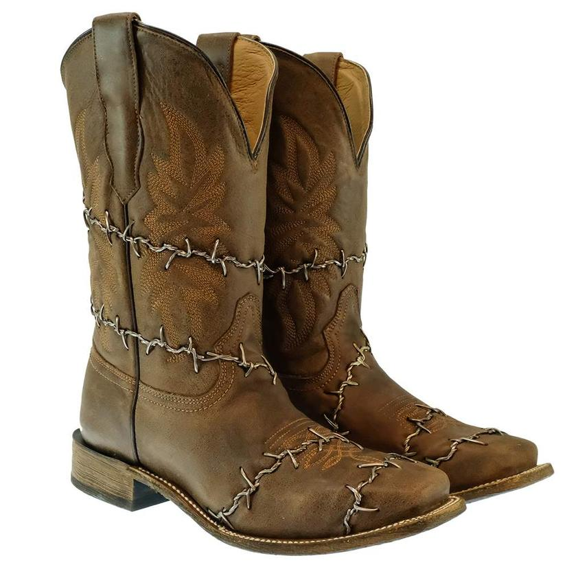 Corral Barbed Wire Brown Woven Square Toe Men's Boots
