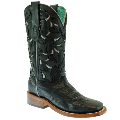 Corral Black Laser Cut Ostrich Embroidered Women's Boots
