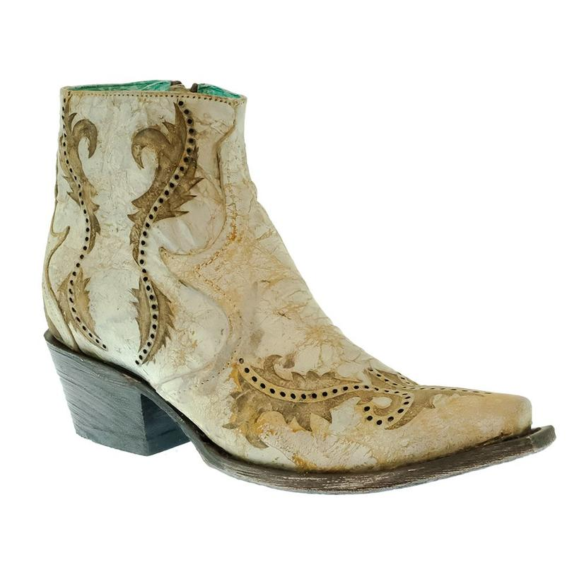 Corral White And Gold Laser Women's Ankle Boot
