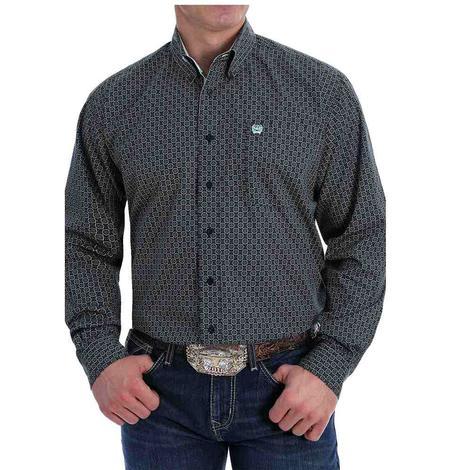 Cinch Black Print Long Sleeve Buttondown Men's Shirt