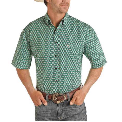 Panhandle Emerald Orange Print Short Sleeve Buttondown Men's Shirt