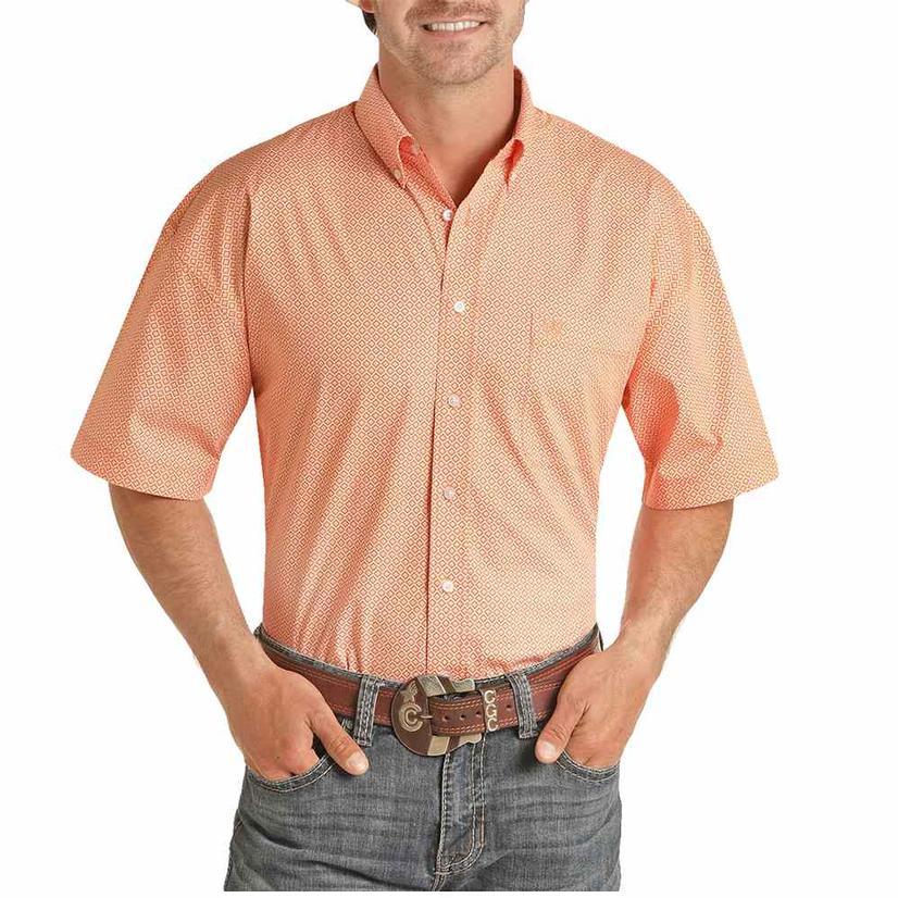 Panhandle Orange Print Short Sleeve Buttondown Men's Shirt