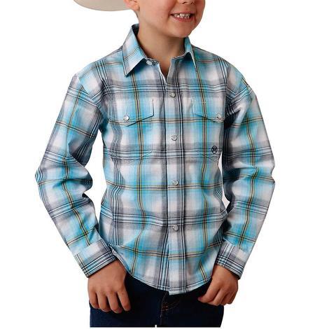 Roper Blue Green Plaid Long Sleeve Snap Boy's Shirt