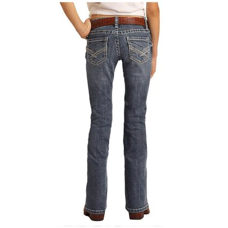 Rock and Roll Cowgirl Medium Wash Bootcut Girl's Jeans