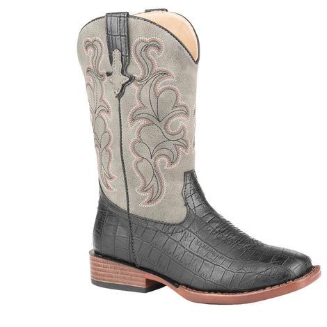 Roper Gator Boy Black and Grey Boy's Youth Boots
