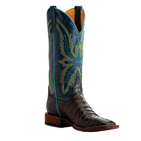 Macie Bean Black Caiman Belly Print Turquoise Top Women's Boots