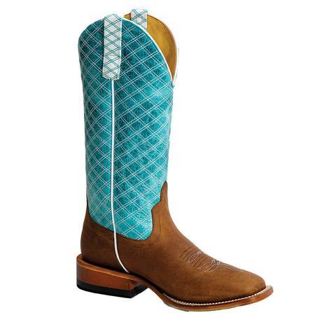 Macie Bean Turquoise Barcelona Checkered Women's Boots