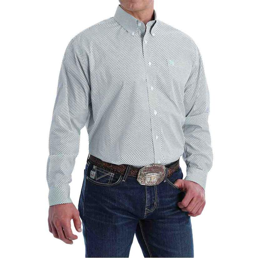 Cinch White Print Stretch Long Sleeve Buttondown Men's Shirt