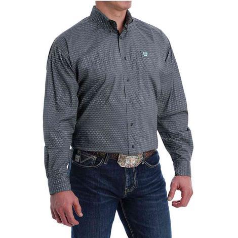 Cinch Grey Print Long Sleeve Buttondown Men's Shirt