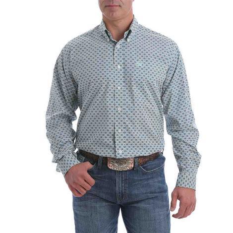 Cinch Grey Print Stretch Long Sleeve Buttondown Men's Shirt