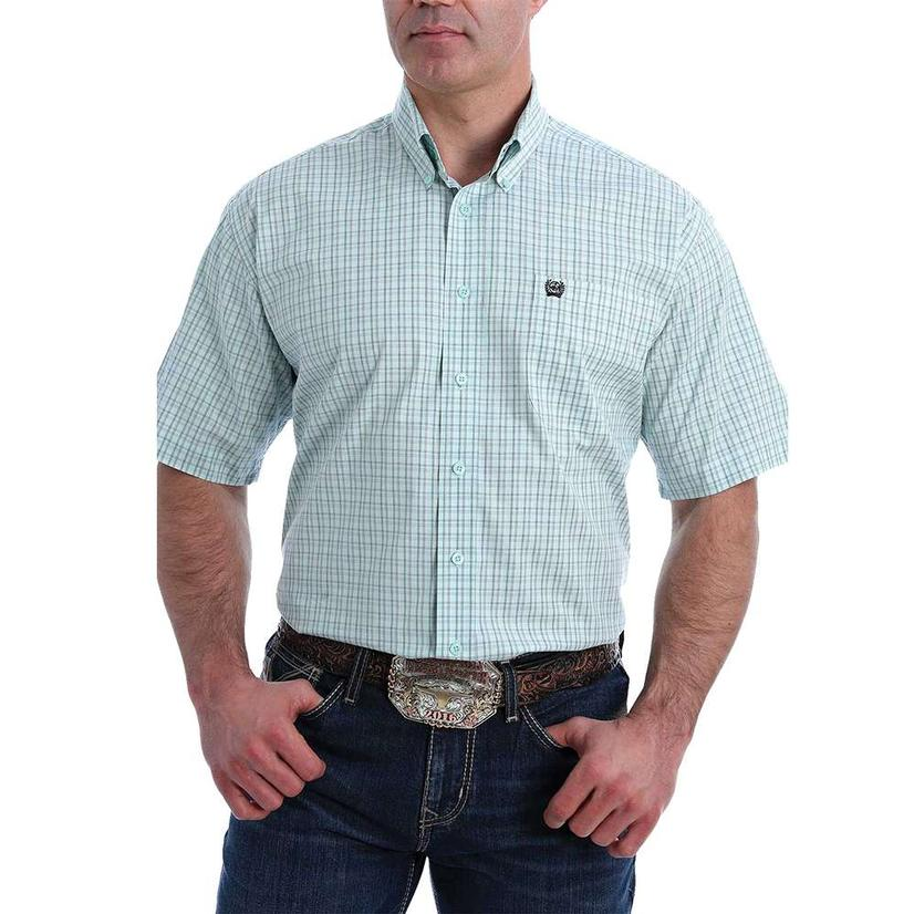 Cinch Light Blue Plaid Stretch Short Sleeve Buttondown Men's Shirt
