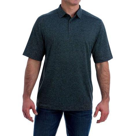 Cinch Heather Navy Blue Short Sleeve Polo Men's Shirt