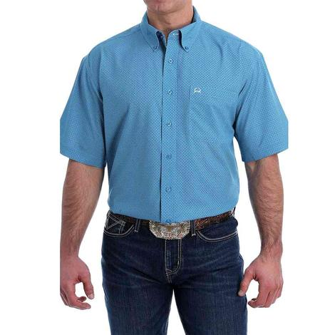Cinch Blue Print ArenaFlex Short Sleeve Buttondown Men's Shirt