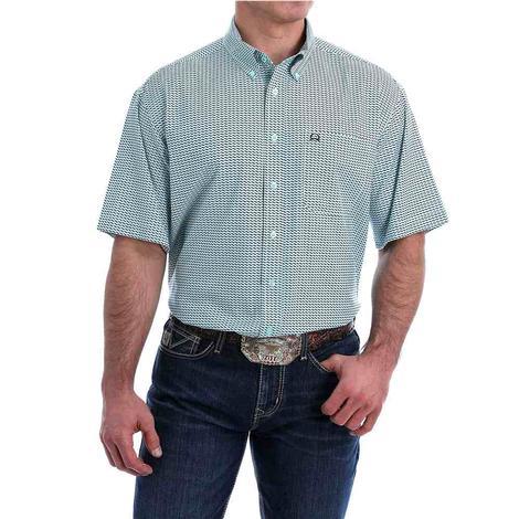 Cinch Mint Print Arenaflex Short Sleeve Buttondown Men's Shirt