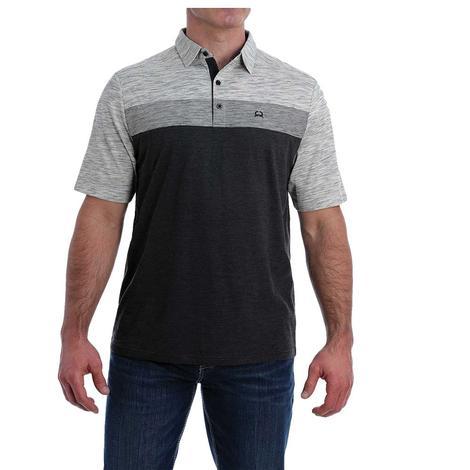 Cinch Heather Grey Black Short Sleeve Polo Men's Shirt