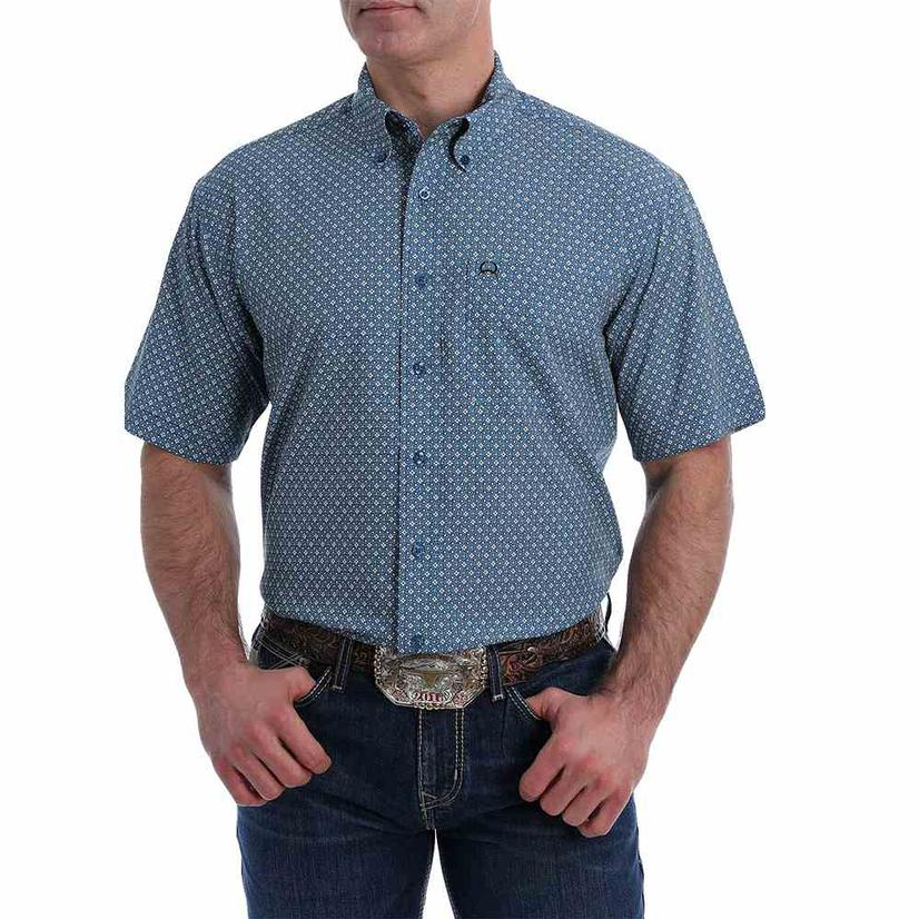 Cinch Blue Grey Print Arenaflex Short Sleeve Buttondown Men's Shirt