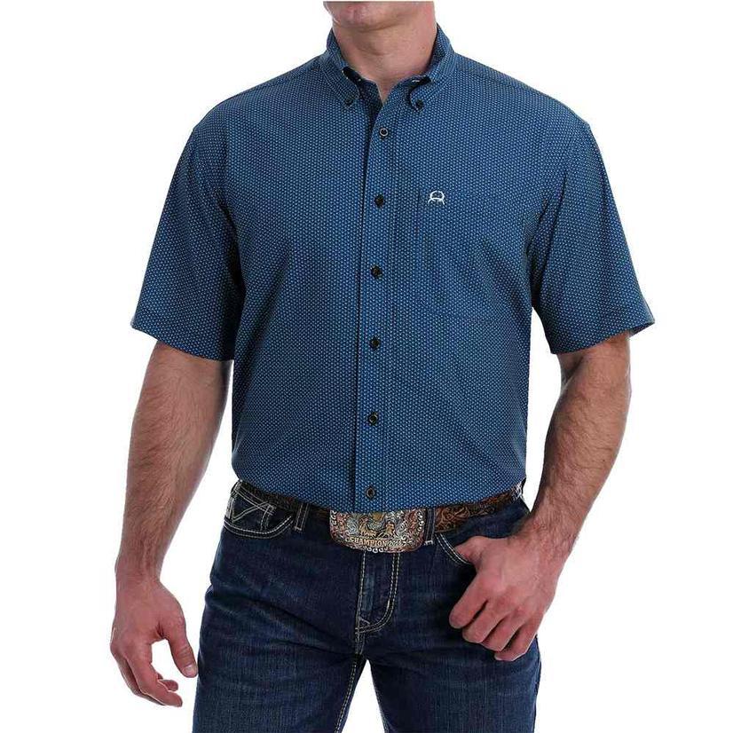 Cinch Blue Print Arenaflex Short Sleeve Buttondown Men's Shirt