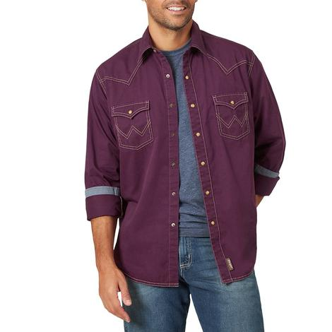 Wrangler Retro Purple Long Sleeve Buttondown Snap Men's Shirt