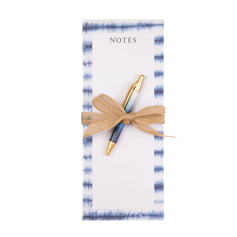 Blue And White Tie- Dye Tall Magnet Notepad With Pen