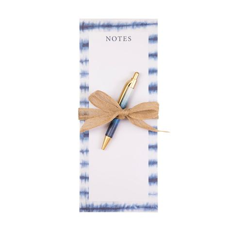 Blue and White Tie-dye Tall Magnet Notepad with Pen